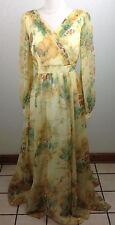 Vintage 1970s Dress Long Floral Sheer Hippie Prairie Boho Formal Sz 14 Union Tag