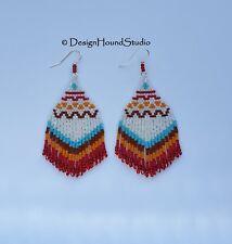 Peyote Beaded Fringed Earrings  - Native - Tribal