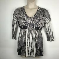 ONE WORLD Women's size L Brown & White Sublimation Print Knit Top