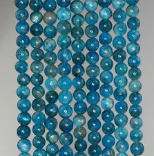 5-6MM APATITE GEMSTONE GRADE A DEEP BLUE ROUND 5-6MM LOOSE BEADS 15.5""