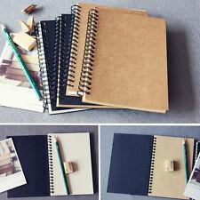 100 Sheets Spiral Bound Coil Sketch Book Blank Notebook Kraft Sketching Paper