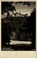 Zámek Jezeří Tschechien alte Postkarte ~1930/40 Blick auf Schloss Eisenberg Wald