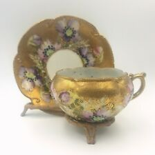 Antique Hand Painted Porcelain Cup & Saucer Floral Motif Gold Encrusted +Beading