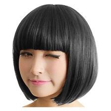 Women Stylish Fashion Black Bangs Short Straight BoB Hair Full Wig Cosplay