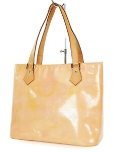 Auth LOUIS VUITTON Houston Baby Pink (Orange) Vernis Tote Bag Purse #37626