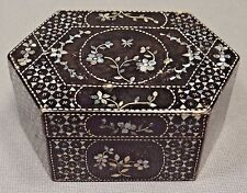 19th C. Qing [Ching] Dynasty Chinese Lacquer Box with Mother of Pearl