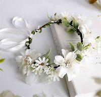Women wedding White Daisy flower bridal Hair Headband Crown Tiara Garland Wreath
