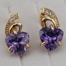 Sweet Heart Amethyst Purple Jewelry Yellow Golden Filled Huggie Earrings h2873