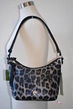 Kate Spade Black Gray Leopard Print Design Purse Crossbody Shoulder Bag Hobo NWT