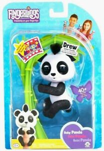🔥FINGERLINGS Baby Panda DREW Glitter Fingerling Black White WowWee 40+ Sounds!