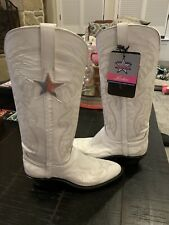 New Lucchese Dallas Cowboys Cheerleader White Women's cowboy boots size 7C
