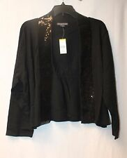 NEW COVINGTON WOMENS PLUS SIZE 3X BLACK SEQUIN OPEN FRONT 3/4 SLEEVES CARDIGAN