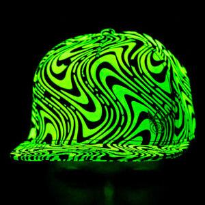 Blacklight Party Glow in the Dark Trippy Wavy Snapback Hat Cap EDM Rave Fun NWT