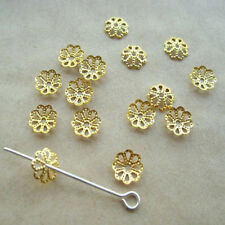 100pcs Gold Plated metal flower bead caps 7mm Vintage Jewelry beads findings