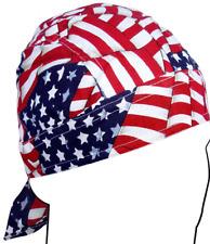 Zan 100% Cotton Lightweight Wavy U.S. Flag Headwrap / Do-Rag / Skull Cap