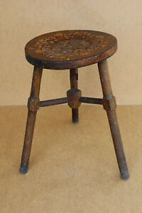 Old Antique Vintage Wooden Wood Chair Stool Embossed Painted Seat Bench 1950's