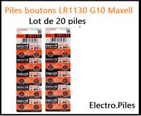 Lot de 20 Piles bouton LR1130 G10 de marque MAXELL, livraison rapide et gratuite
