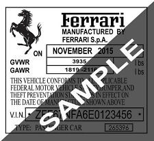 Ferrari Lamborghini Bugatti Car VIN Tag ID Number Door Hood Sticker Label Decal