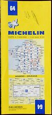 MICHELIN FRANCE 1982 COLOURED PAPER MAP of ANGERS-ORLEANS No 64 1:200 000