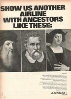 1965 Original Advertising' Vintage Alitalia Airlines Company Aerial Italian Ill