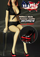 1/6 Women Military Style Outfits Shoes Set For Phicen Hot Toys Female Figure USA