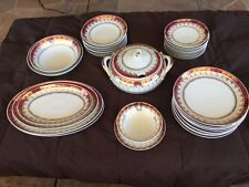 Dinnerware: Eliane by Schmidt (Brazil )-35 Pieces-White w/Red Band,Filigree,Gold