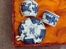 New listing 1set 3pcs Asian Bamboo Bird Cage blue and white porcelain cups �花瓷鸟食�