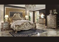Four Pc Traditional Formal Dresden Gold Antique Queen Size Bedroom Set Furniture