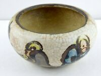 Vintage Asian Pottery Bowl People Fish Possible Raku Firing Unglazed Base AS IS