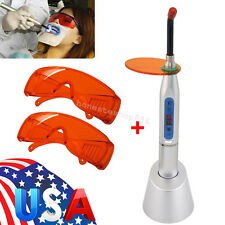 *USA* Dental 10W Wireless Cordless LED Curing Light Lamp 2000mw 2 Goggle Glasses