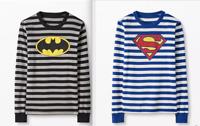 Hanna Andersson Adult Small Long John Pajama Top Superman Batman Striped