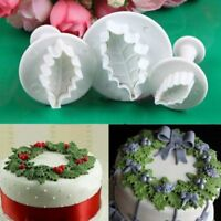 3x Holly leaf Cookie Plunger Cutter Fondant Sugarcraft Mold Cake Decorating DIY