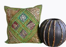 "New Zari Work Indian Handmade 16X16"" Cotton Square Ethnic Sofa Cushion Cover Art"