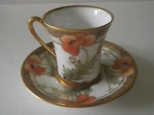 RC Nippon Hand Painted Chocolate Cup & Saucer -  Art Nouveau Poppies & Gold
