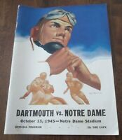 NOTRE DAME VS DARTHMOUTH FOOTBALL PROGRAM GAME PLAYED ON 10/13/1945 USED