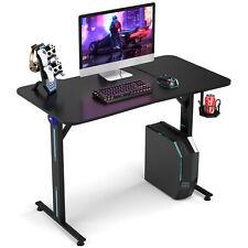 COSTWAY Bureau Gaming Bureau Gamer Table pour PC Informatique avec LED