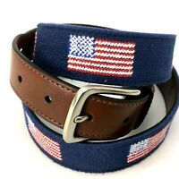 TOMMY BAHAMA Canvas USA Flag Belt Size Large (38-40)  Blue Brown Faux Leather