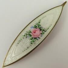 ANTIQUE BLACKINTON ROSE WHITE GUILLOCHE ENAMEL STERLING SILVER TATTING SHUTTLE