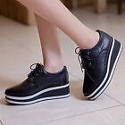 Women Platform Strappy Chic British Brogue Pumps Sneaker Wedge Heel Casual Shoes