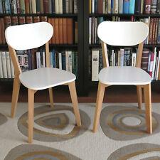 2er Set Holzstühle SKANDI Buche / Weißlack Stühle Holz massiv Küchenstuhl Buche
