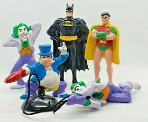 Lot, 1989 Applause PVC Batman, Robin, Joker & 2 Penguin. Figurine DC Comics