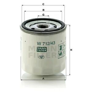 Mann W712/43 Oil Filter Spin On 79mm Height 76mm Outer Diameter Service
