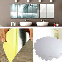 9Pcs Square Mirror Stickers Tile Wall Decals DIY 3D Mosaic Room Art Stick On New