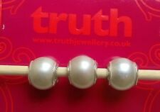 Set of 3 Genuine TRUTH sterling silver PK 925 faux pearl bracelet charm beads