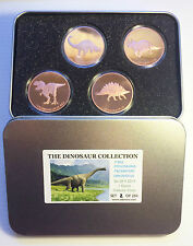 """2014 Set of  4 x 1 OZ """"The Dinosaur Collection"""" in Collectors Tin. LTD 250 Gift"""