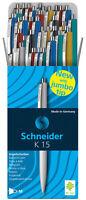 50 Schneider K15 farbig sortiert 3080 Druckkugelschreiber Kuli Kugelschreiber