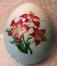 "Vintage Ceramic Bisque Blue Ombre Easter Egg Large Flower Decal 5"" Long"
