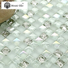 TST Kitchen White Iridescent Silver Mosaics for Bath Walls Sink Backsplash Tile