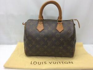 Auth Louis Vuitton Monogram Speedy 25 Hand Bag 8L260730n""