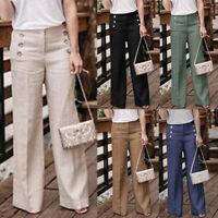 Mode Femme Panalon Casual Loose Fermeture éclair Bouton Droit Jambes larges Plus